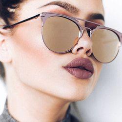 Miroir Rose Or Lunettes de Soleil Femme Ronde De Luxe Marque Femme Lunettes de Soleil Pour Femmes 2017 Mode Oculos Étoiles Style Shades