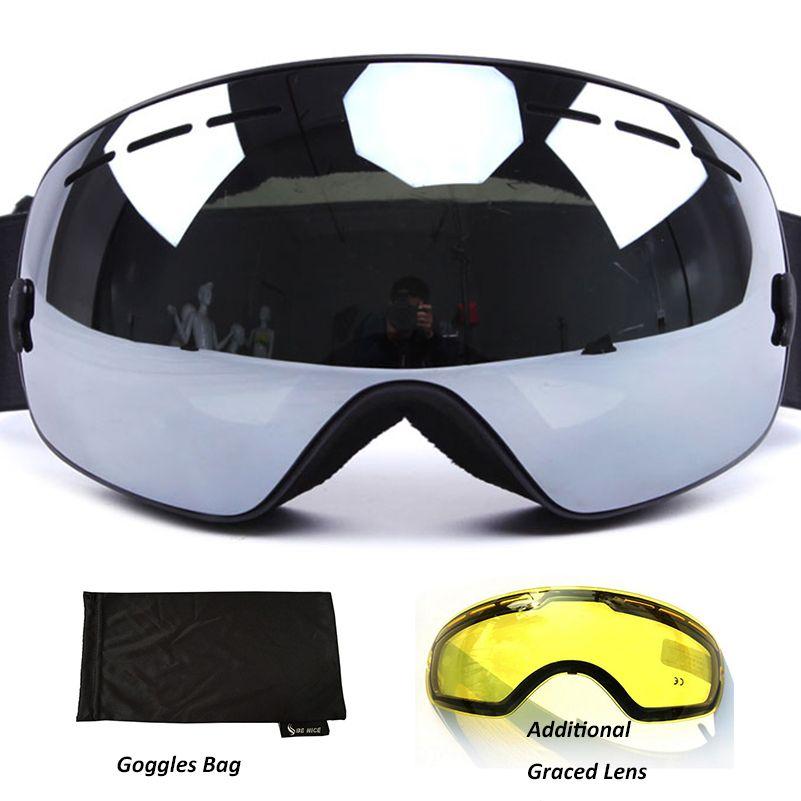 Lunettes de Ski Anti-buée UV400 lunettes de Ski polarisées Double lentille Ski Snowboard lunettes de neige lunettes de Ski avec étui pour homme femmes
