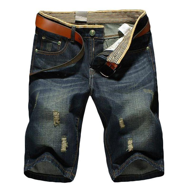 Caliente verano 2018 de productos de alta calidad de la moda ocio vaquero Pantalones cortos agujero mezclilla Pantalones cortos/hombres casual Denim Pantalones cortos tamaño grande