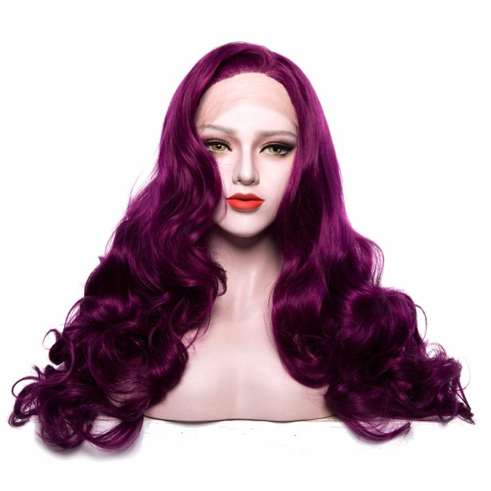 Химическое Синтетические волосы на кружеве Искусственные парики длинные Средства ухода за кожей волны длинные Однотонная одежда фиолетов...