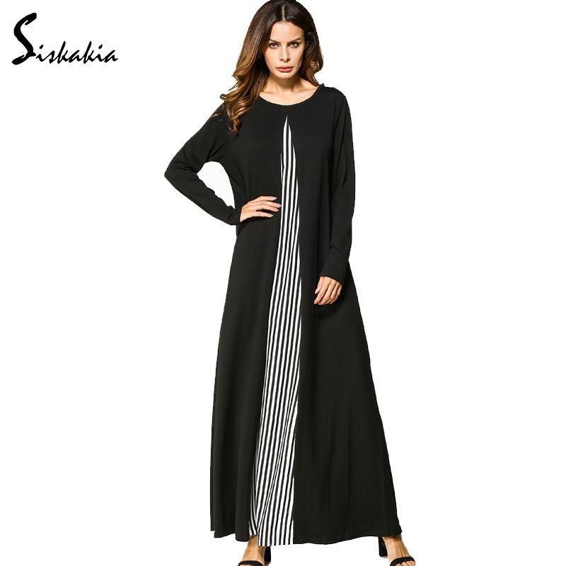 Siskakia manches longues col rond une ligne Maxi longue robe pour les femmes rayé lambris patchwork conception automne hiver robes décontractées