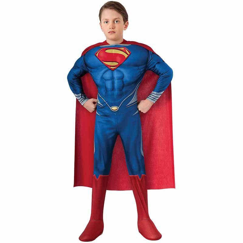 High Quality <font><b>Children</b></font> Superman Cosplay Clothing Halloween Costume For Kids