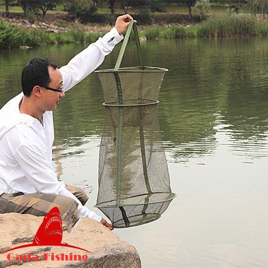 Heißer Verkauf 4 Größe 3 Schicht Tragbare Fischernetz Fisch Garnelen Mesh Käfig Cast Net Angeln Trap Netzwerk Faltbare Fischernetze angelgerät