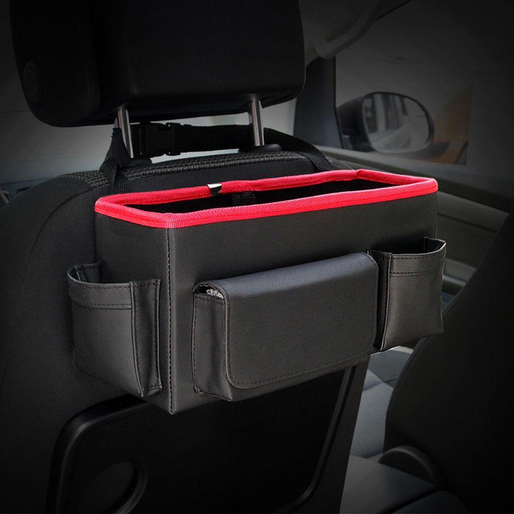 SITAILE Multi-Use Auto Seat Back Organizer Multi-Use Car Backseat Folding Portable Storage Box Leather Car Interior Accessories