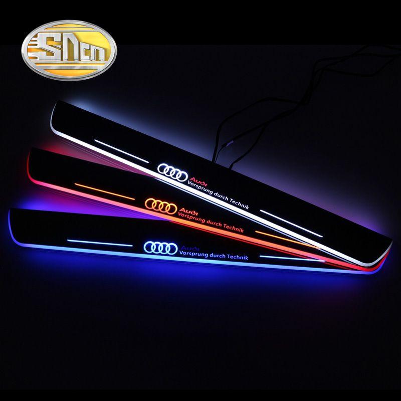 SNCN Acrílico Impermeable Movimiento LED Placa Del Desgaste Del Pedal Bienvenidos Coche de Pedales Puerta alféizar Camino de Luz Para Audi A4 S4 RS4 B9 2013-2015