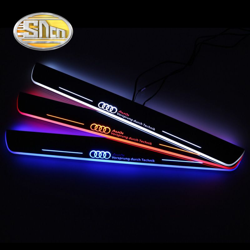 SNCN Waterproof Acrylic Moving LED Welcome Pedal Car Scuff Plate Pedal Door Sill Pathway Light For Audi A4 B9 S4 RS4 2013 - 2015
