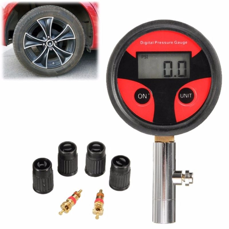 Durable Universal Car Truck Digital LCD Tyre Motorcycle Bike Air Pressure Gauge 0-200PSI With Tyre Cap and Core