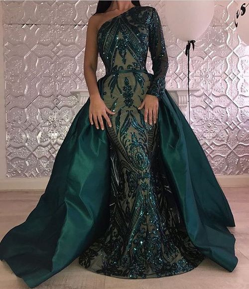 Emerald Green Mermaid Evening Dress Long Sleeve Detachable Train Muslim Prom Dresses 2018 Arabia Glitter Formal Party Gowns