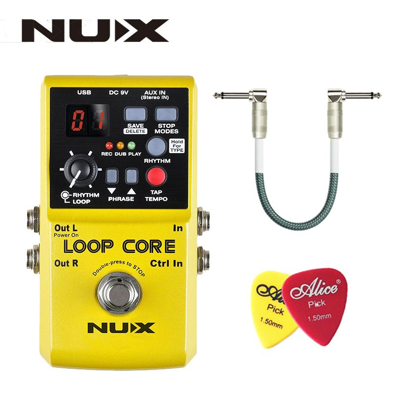 NUX Loop Core, Guitar Effect Pedal, Looper, 6 Hours <font><b>Recording</b></font> Time, 99 User Memories, Drum Patterns with TAP Tempo with gift