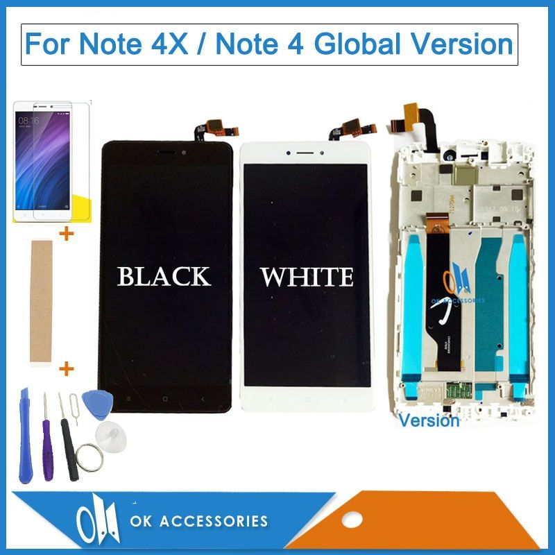 Black White Color For Xiaomi <font><b>Redmi</b></font> Note 4X Note 4 Global Version LCD Display+Touch Screen Digitizer With Frame With Kit
