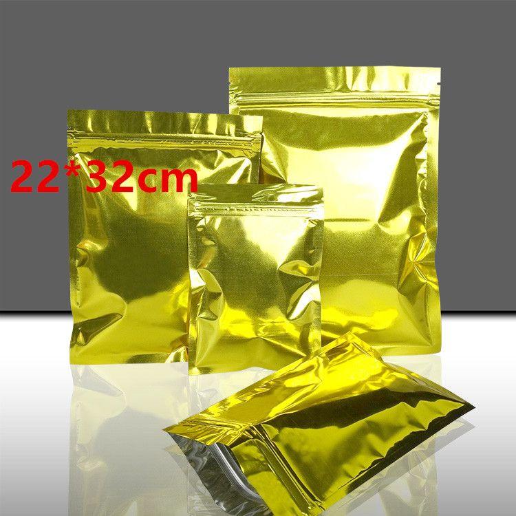 30Pcs/ Lot 22*32cm Golden Zipper Aluminum Foil Resealable Valve Package Pouches Coffee Powder Nuts Mylar Packaging Storage Bags