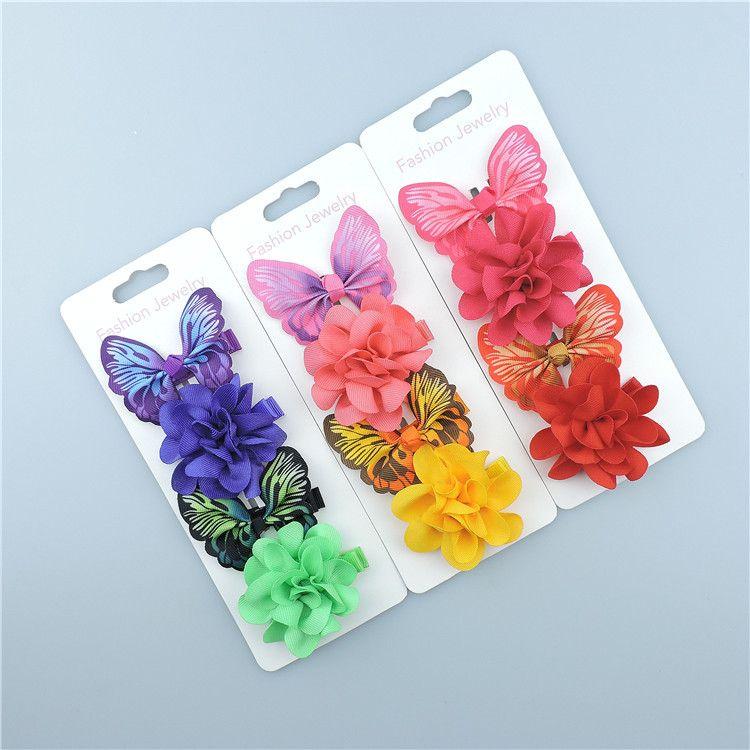 1 satz Sommer Schmetterling Blume mädchen kinder haarspange haarnadel haarspange zubehör für kinder haarspange haarschmuck kopfschmuck