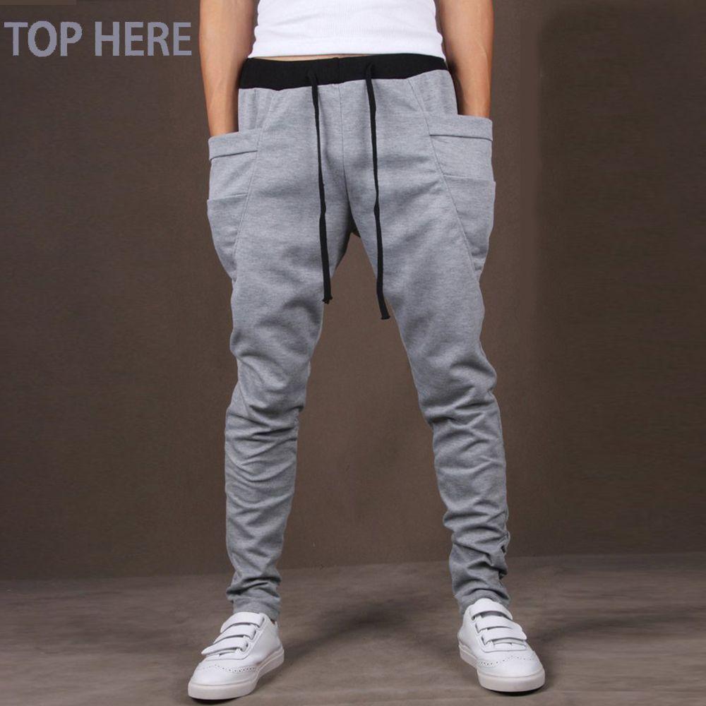 Casual Men Pants Unique Big Pocket Hip Hop Harem Pants Quality Outwear Sweatpants Casual Mens Joggers TOP HERE Men's Trousers