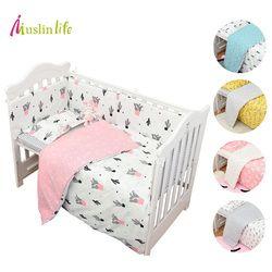 Muslinlife 3 unids/set algodón Ropa de cama, moda cactus/flamenco/Fox repiqueteaba algodón cuna Sets (Fundas nórdicas + almohada + flatsheet)