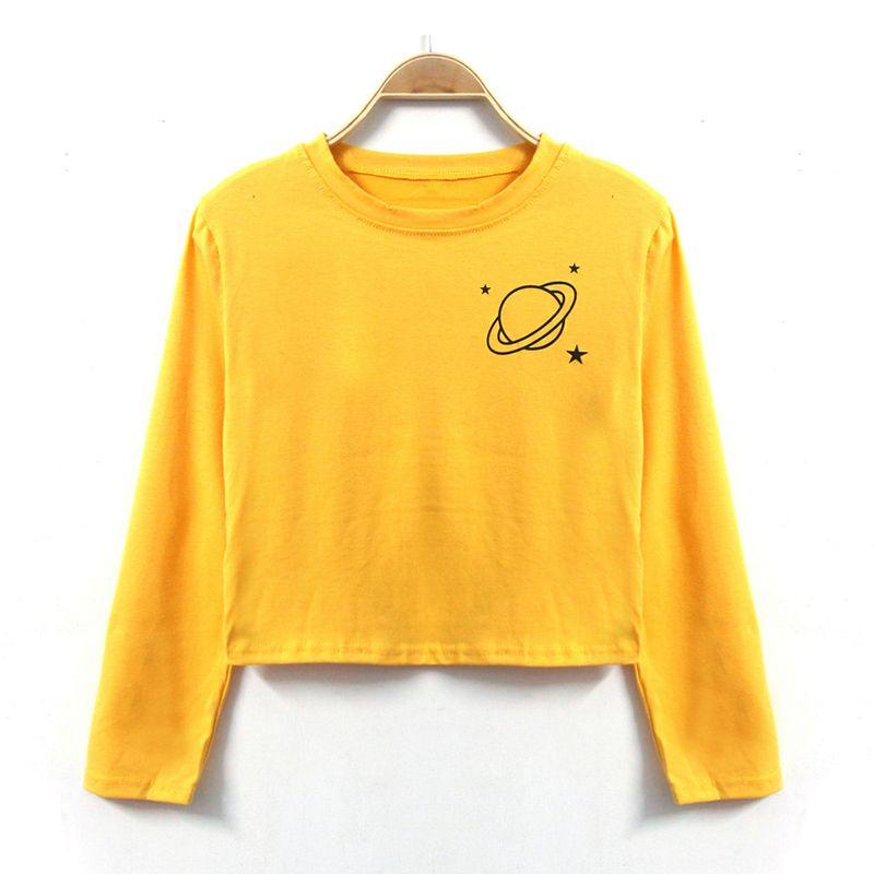 Daiqianni 2017 otoño 3/4 tapa de la manga mujeres camiseta estrella amarilla imprimir cropped feminino camiseta divertida del algodón ocasional camisas mujeres