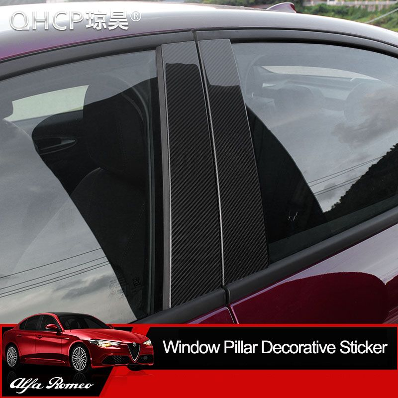 QHCP Car Window Pillar Decorative Sticker Carbon Fiber Car Window Decoratioon Sticker Fit For Alfa Romeo Giulia