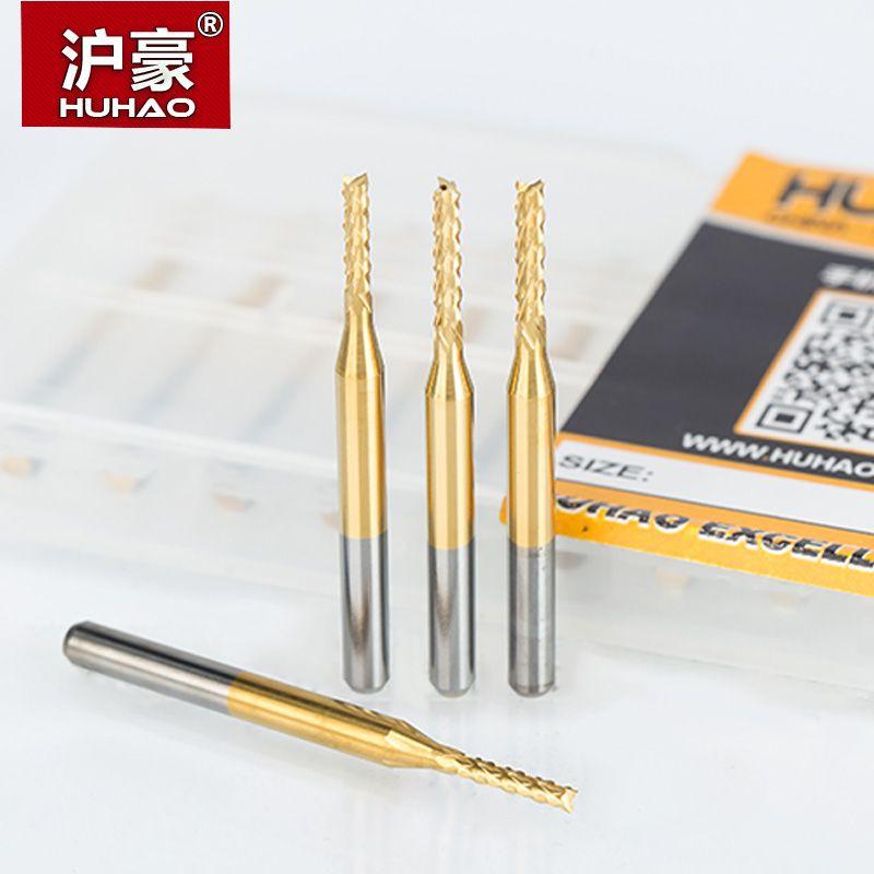 HUHAO 10pcs/lot 0.6-3.175mm TiN Coating Corn end mill Cutter PCB milling bits end mill CNC <font><b>router</b></font> bits 3.175mm cutting tools