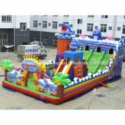 Komersial Besar Goyang Inflatable Playground Raksasa Inflatable Bouncy Castle dengan Lucu Hambatan