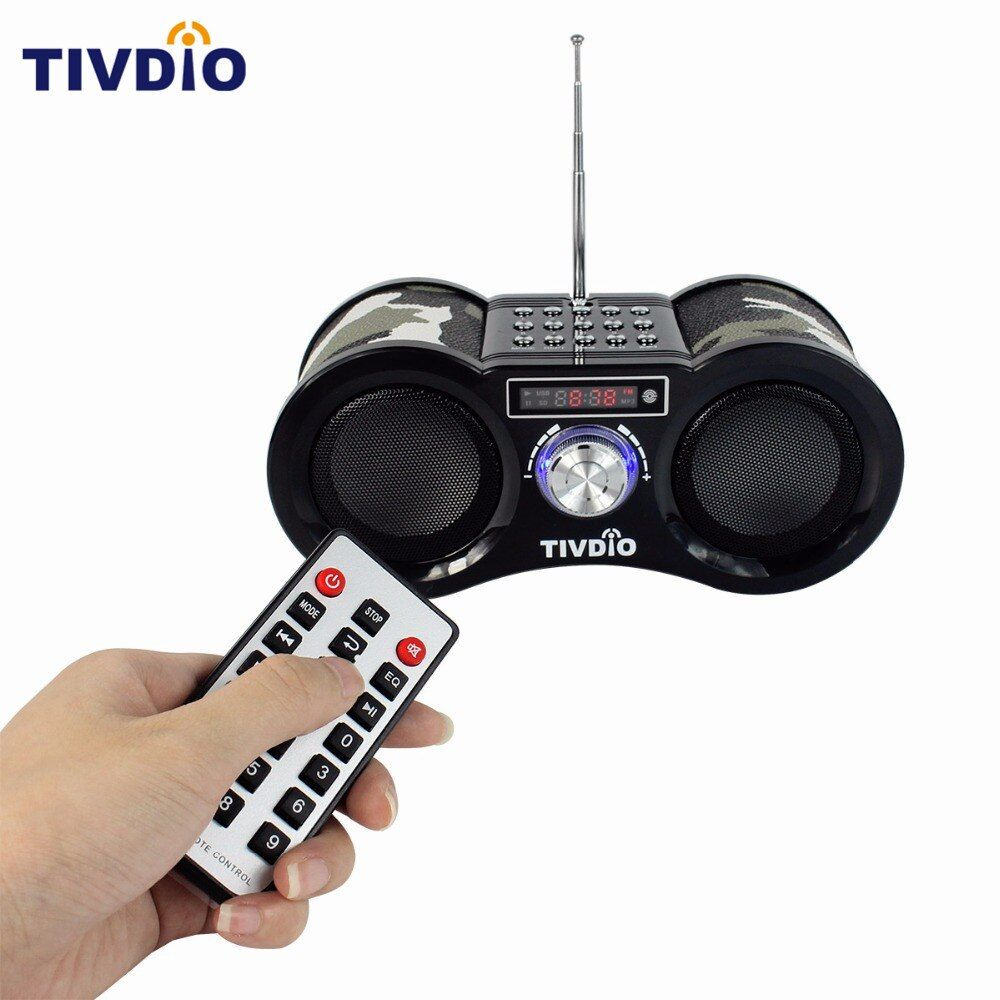 TIVDIO-113 Camouflage Digital Stereo FM Radio USB/TF Card With Speaker MP3 Music <font><b>Player</b></font> With Remote Control Receiver Radio F9203