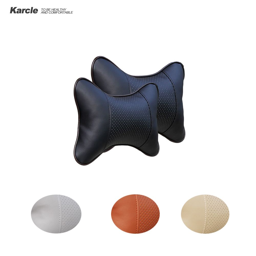 Karcle 2 PCS PU Leather Car Neck Pillows Neck Headrest Breathable Vehicular Pillows Seat Neck Pillows Car-styling Accessories