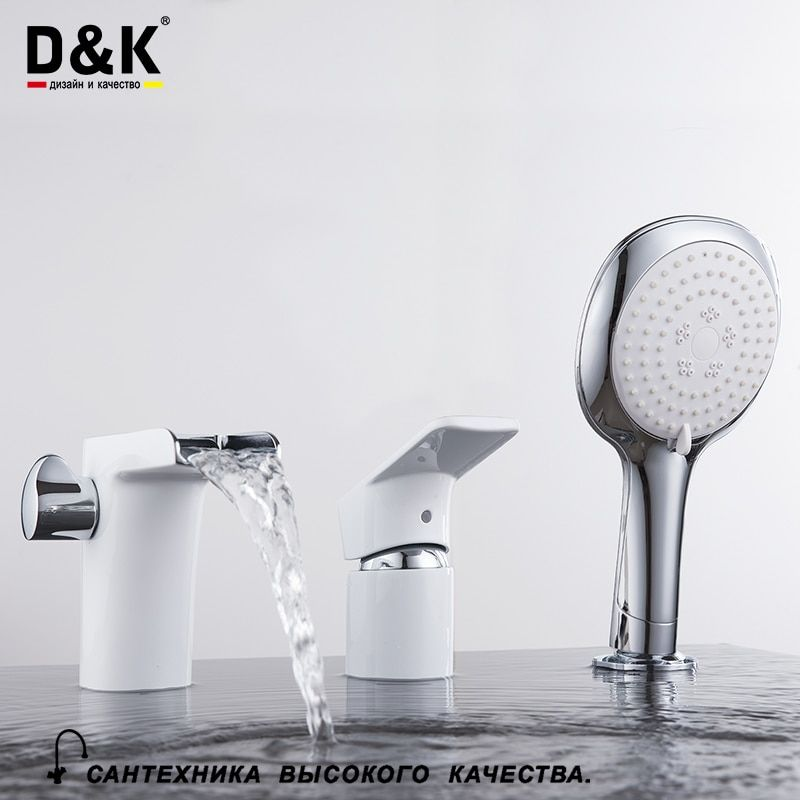 D&K Bathtub Faucets White Chrome Brass Single Handle Waterfall Hot and cold water tap DA1434216