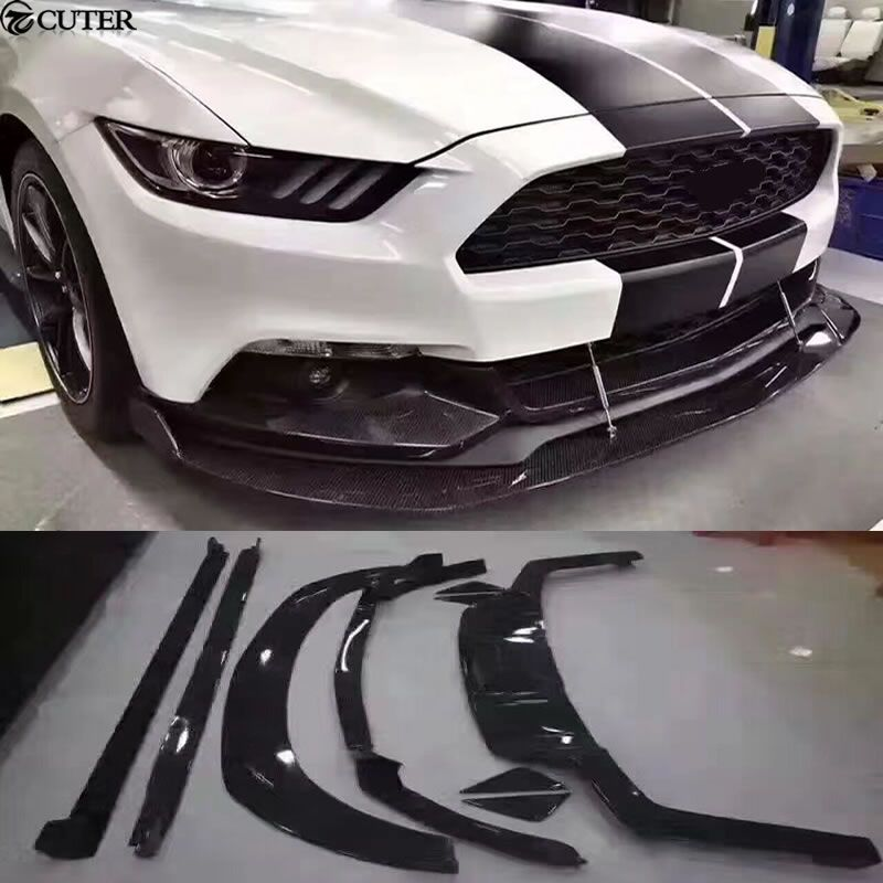 Carbon fiber Car body kit front lip rear diffuser lip rear side skirts for Ford Mustang henntop style 15-17