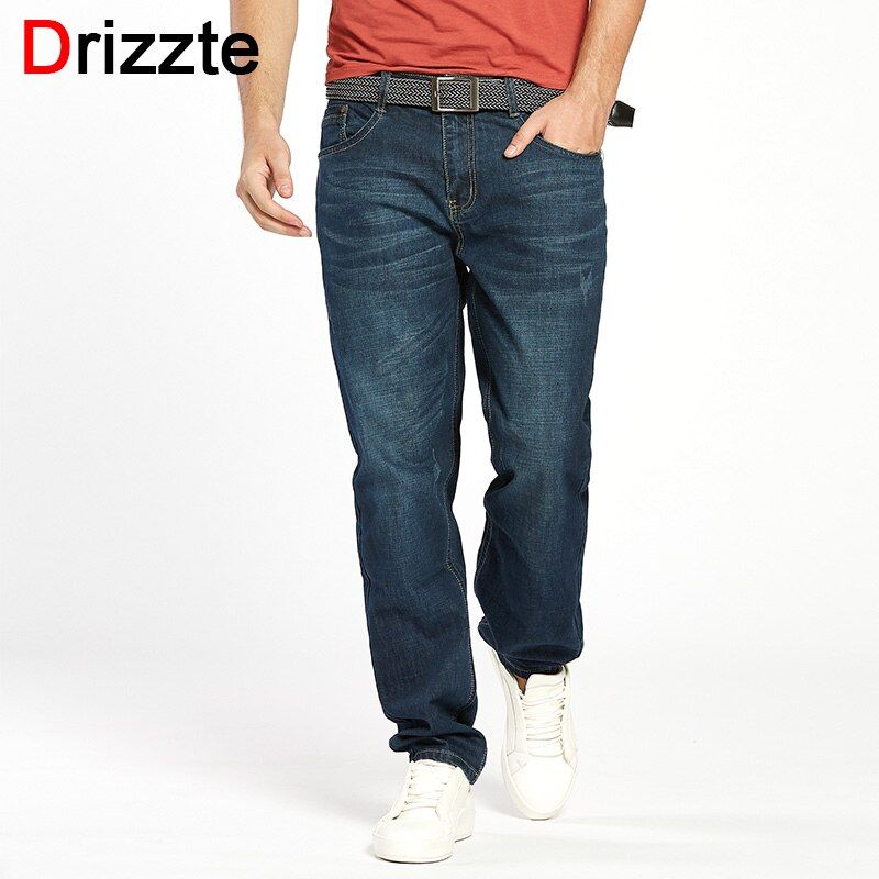 Drizzte Men Jeans Plus Size 28 to 46 Trendy Taper Stretch Relax Jeans Blue Denim Jean Trousers Pants
