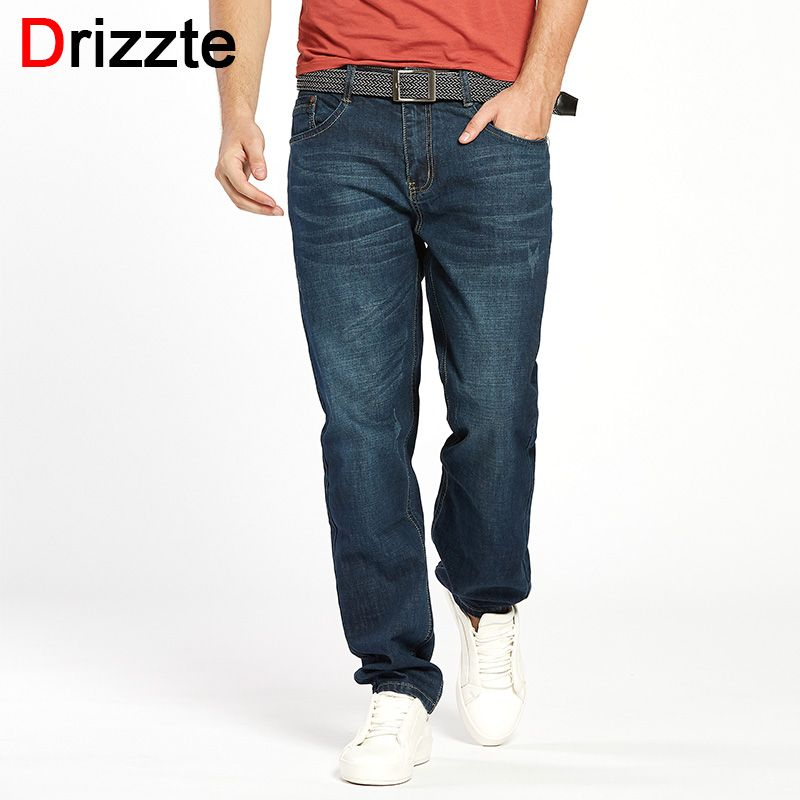 Drizzte Men Jeans Plus Size 28 to 46 Trendy Taper Stretch Relax Jeans <font><b>Blue</b></font> Denim Jean Trousers Pants