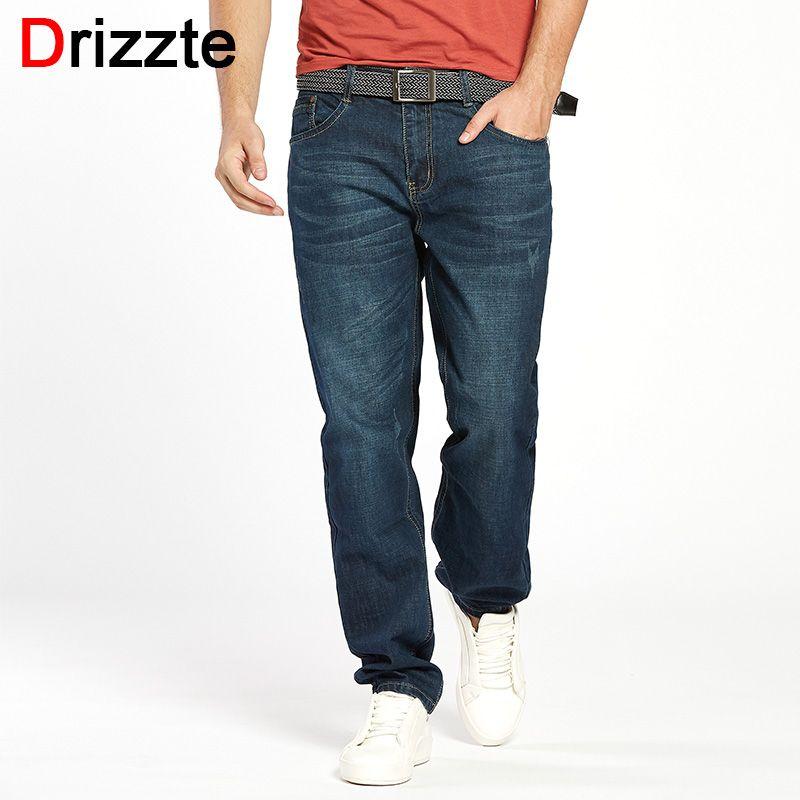 Drizzte Men Jeans Plus Size 28 to 46 Trendy <font><b>Taper</b></font> Stretch Relax Jeans Blue Denim Jean Trousers Pants