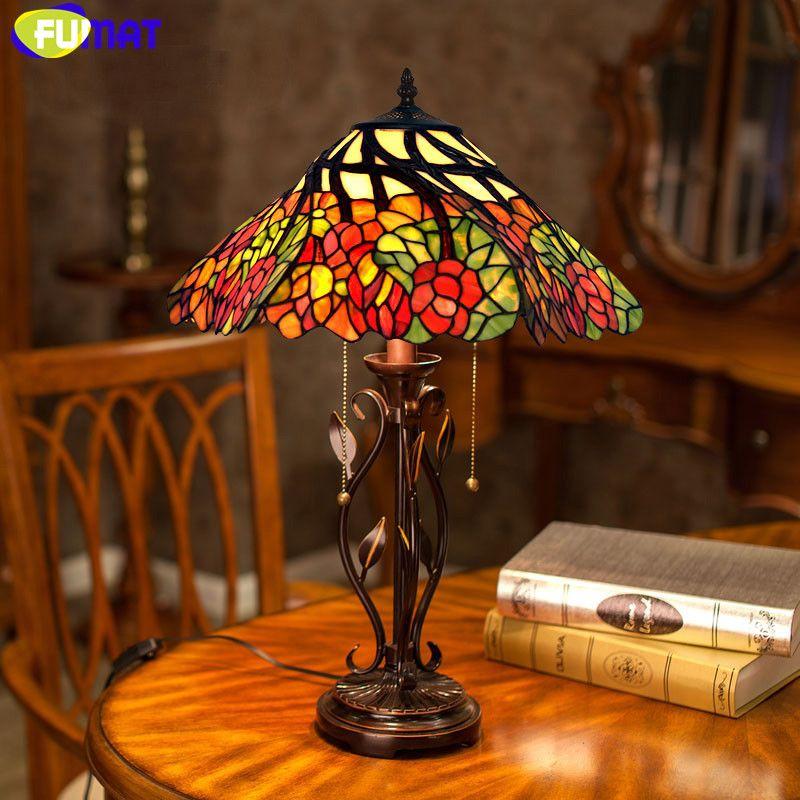 FUMAT Glasmalerei Lampe 16 zoll Klassische Schreibtischlampe Warm Romantic Whirly Blume Wohnzimmer Tischlampe Nachttischlampe Lichter