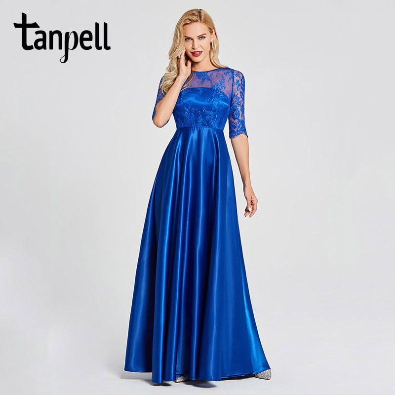 Tanpell lace evening dresses royal blue scoop neck half sleeves floor length a line gown women backless formal long evening gown