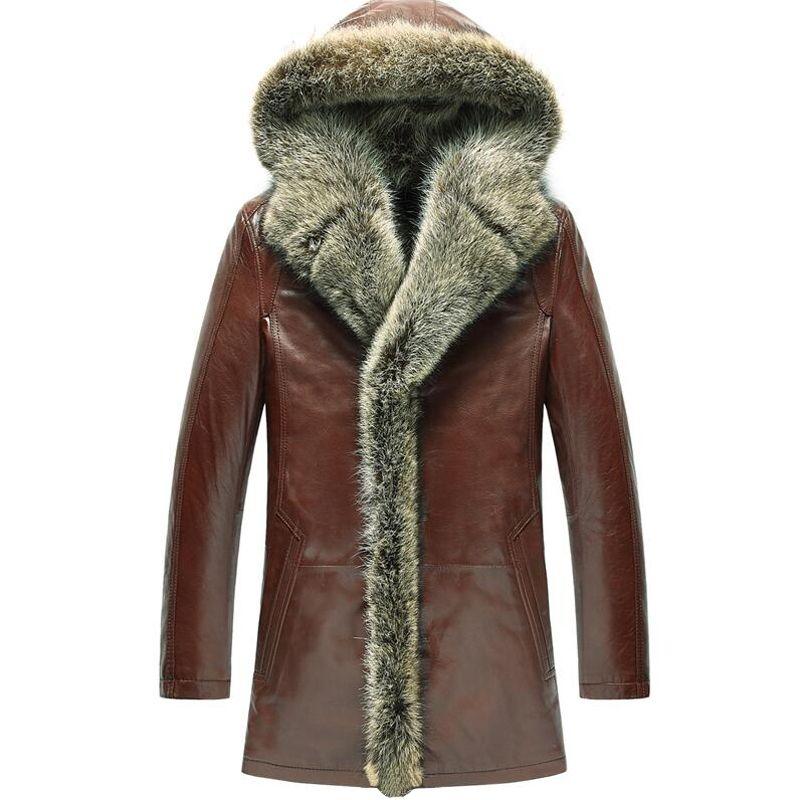 Men's Fur Coat Shearling Coats Luxury Raccoon Fur Collar Hooded Parka Men Slim Sheepskin Leather Long Outerwear TJ50