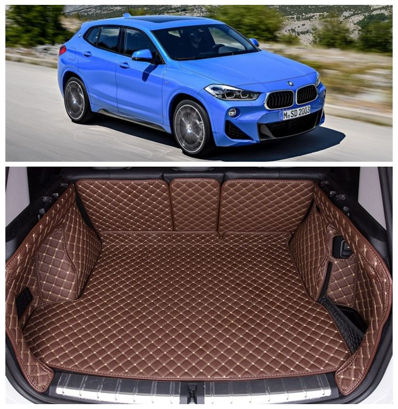 For BMW X2 F39 2018 2019 Full Rear Trunk Tray Liner Cargo Mat Floor Protector foot pad mats Embroidery Leather