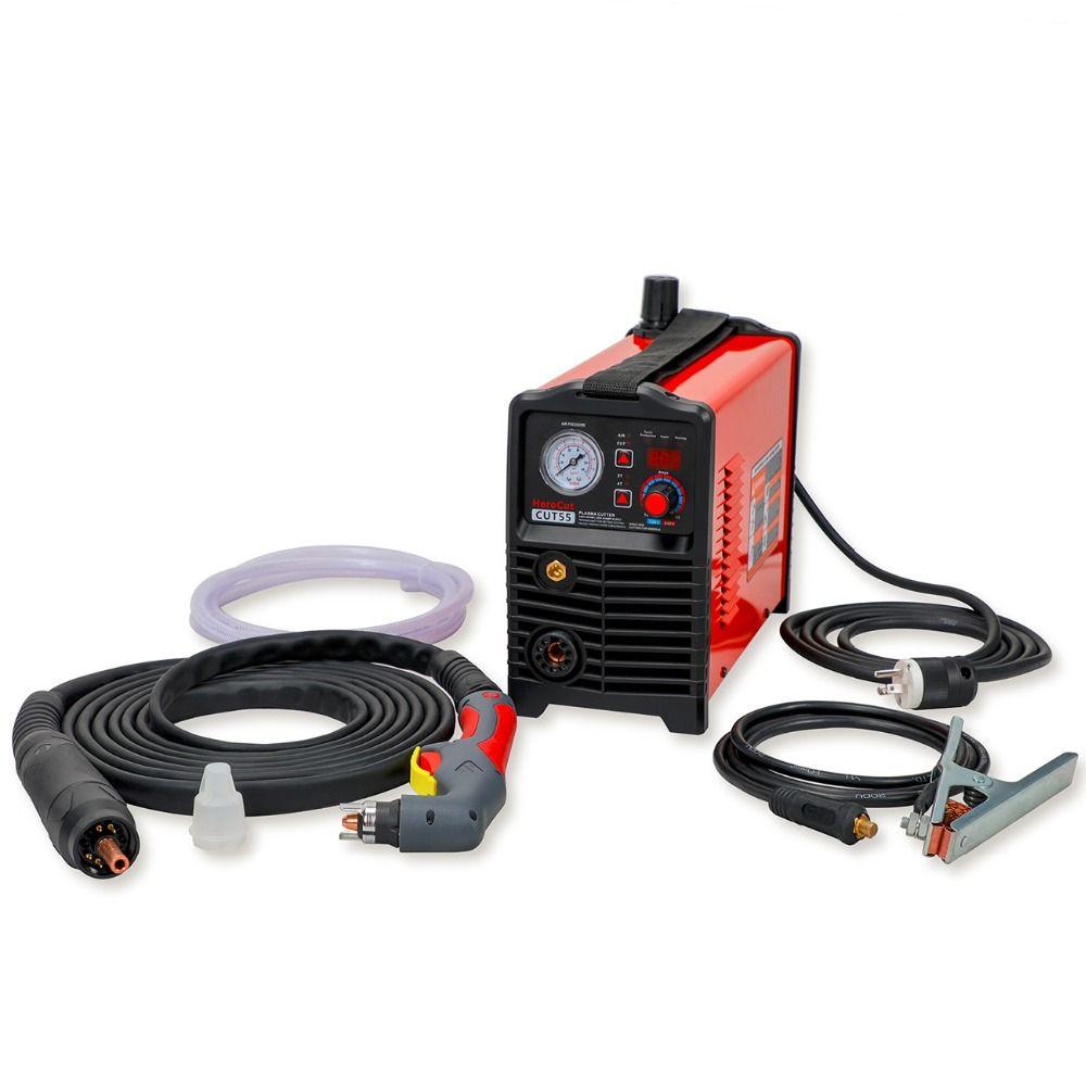 IGBT CNC Pilot Arc Non-HF DC Air Plasma Cutter Cut55i Digital Control Dual Voltage 120V/240V, work with CNC table cutting video