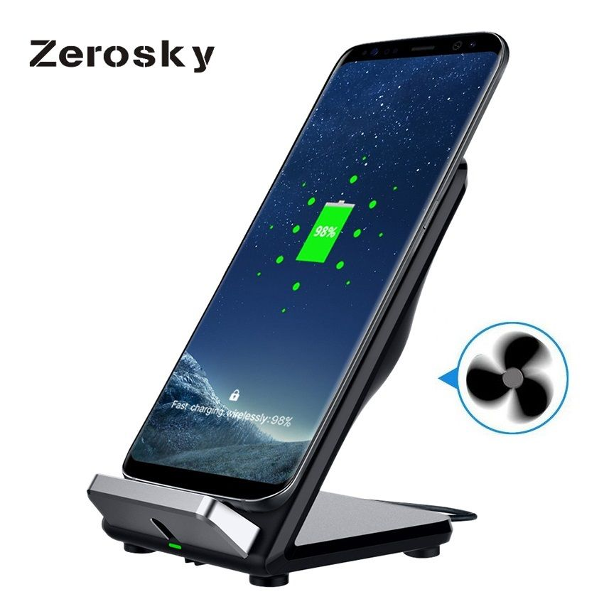 Zerosky 10.8W QI Fast Wireless Charger with Fan for Galaxy S8 S8+ S7 S7edge iphone 8plus Double Coil QI Wireless Charging Stand