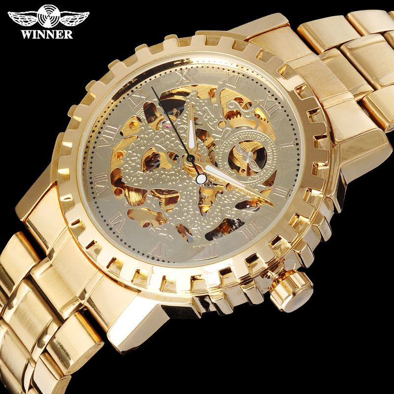 WINNER famous brand men mechanical automatic gold watches male skeleton steel fashion wristwatches dragon dial <font><b>Relogio</b></font> Masculino
