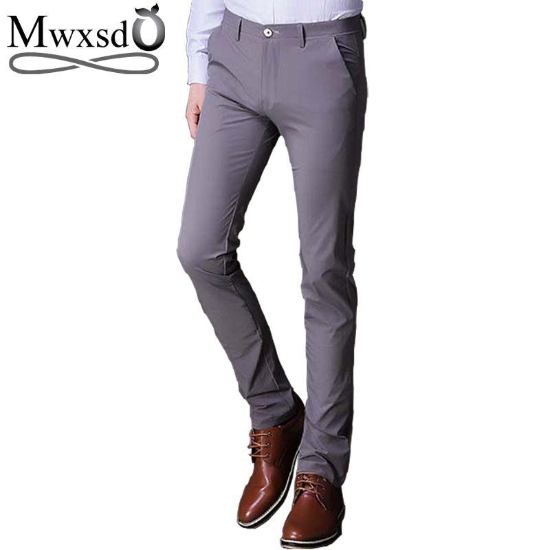 Mwxsd marke Männer casual slim fit hosen Männlichen blazer hosen hochzeit lange hosen hochwertigen grauen business hosen