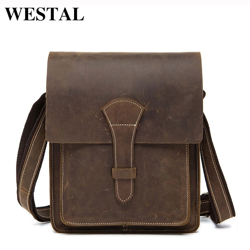 WESTAL Crazy Horse Genuine Leather Men Bag Flap Male Vintage Shoulder Bags Small man Crossbody Bags men's Messenger Leather Bag