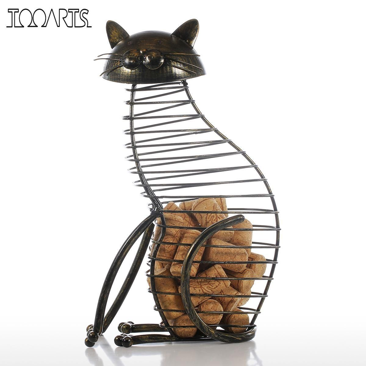 Tooarts Metal Cat Figurines Wine Cork Container Modern Style Iron Craft Gift <font><b>Artificial</b></font> Animal Mini Home Decoration Accessories