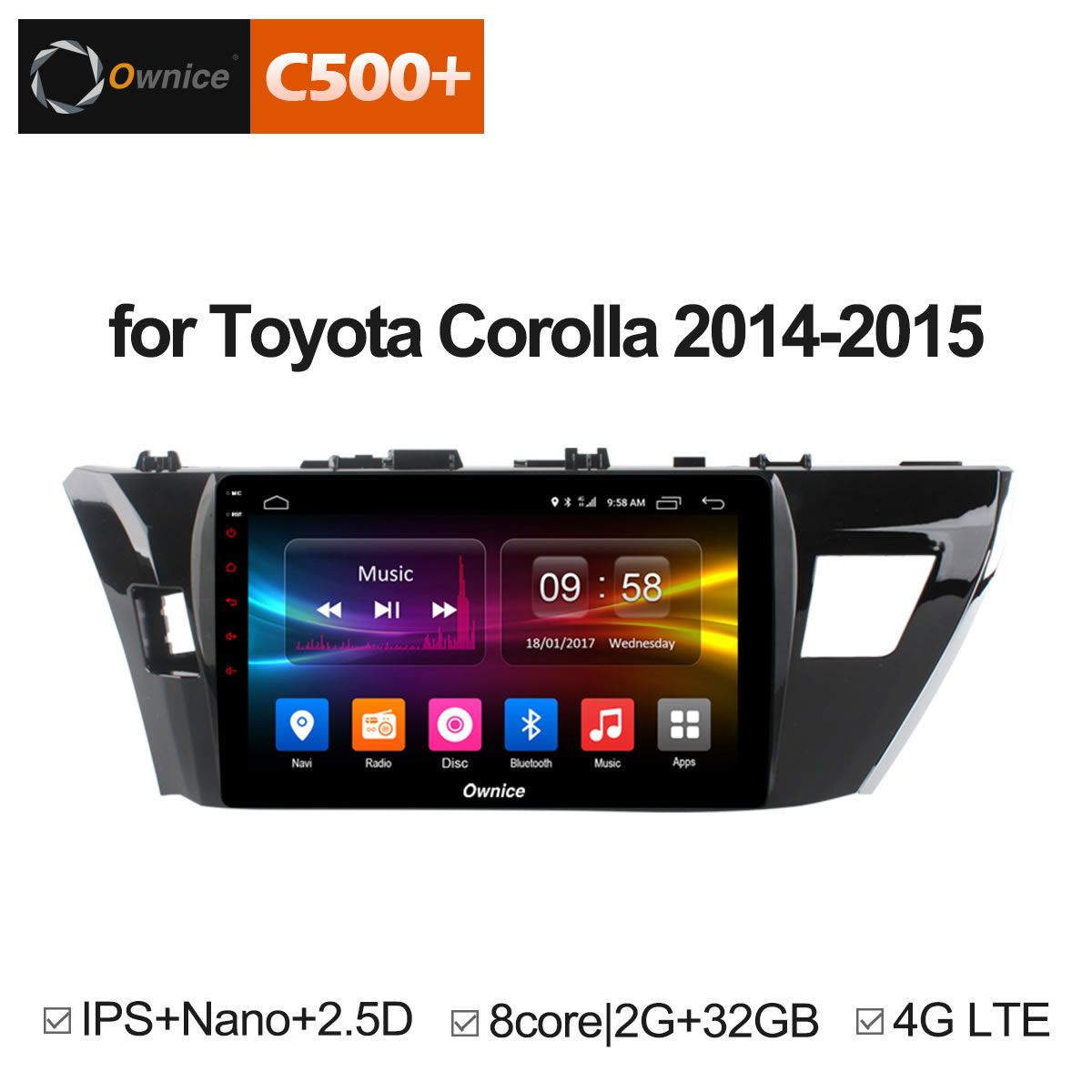 Ownice C500+ G10 Android 6.0 Octa Core Car Radio 2 din GPS 2GB RAM 32GB ROM For Toyota corolla 2014 2015 Levin 2013-2018 DVD 4G