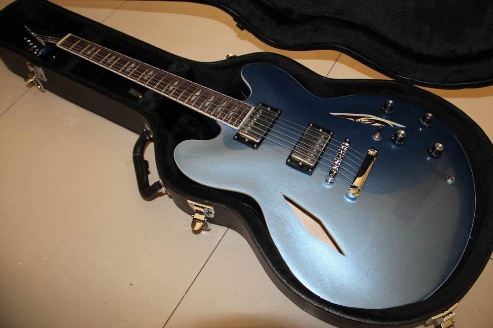 Free Hardcase Dave Grohl Signature Guitar DG 335 Electric Guitarra In Light Metallic Blue Finish 120415