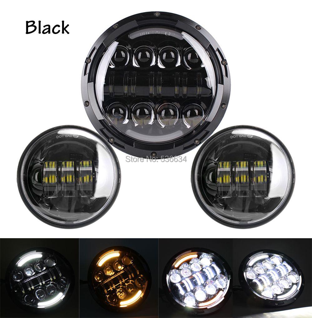 Черный 7 дюймов 78 Вт круглый daymaker светодиодный проектор фара Водонепроницаемый лампы для мотоцикл Harley Davidson & Jeep Wrangler 2007 -2015