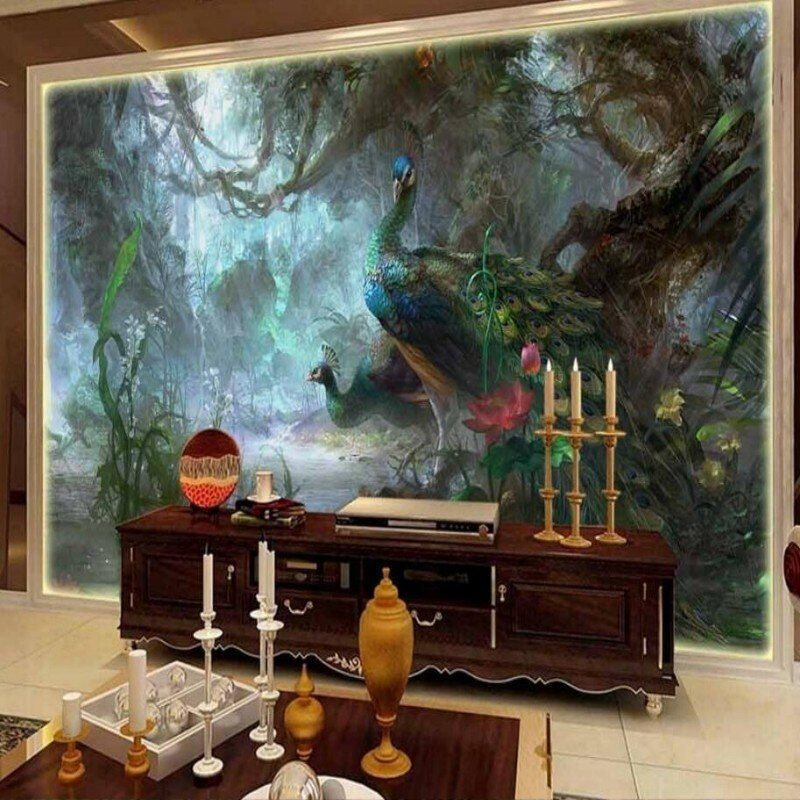 beibehang Beautiful peacock nature TV backdrop decorative painting background wallpaper cool wallpaper 3D stereoscopic bedroom