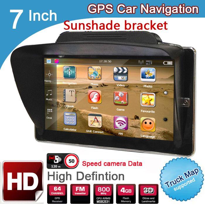 New 7 inch HD Car GPS Navigation 8GB/DDR3 2018 Maps For Europe/USA+Canada with Sunshade Sunshield bracket Truck Camper Caravan
