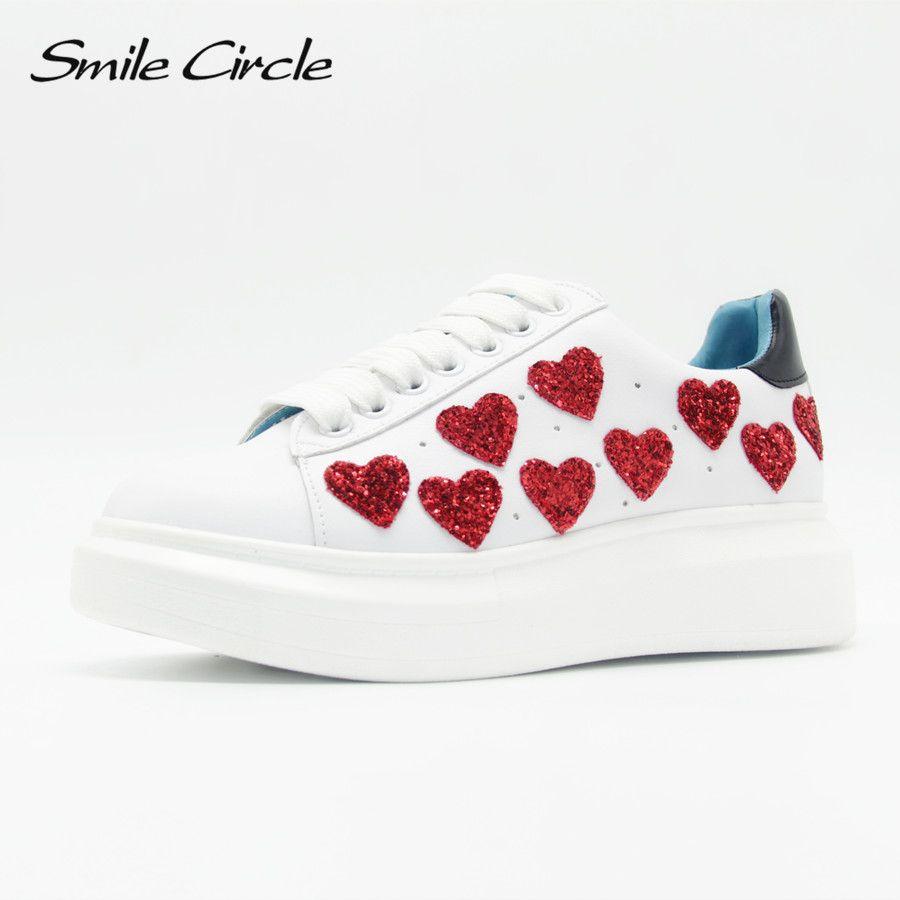 2018 Spring/Autumn Women Platform Shoes <font><b>Sneakers</b></font> Fashion heart Casual Shoes Women Lace-Up Flat Platform Shoes Thick bottom