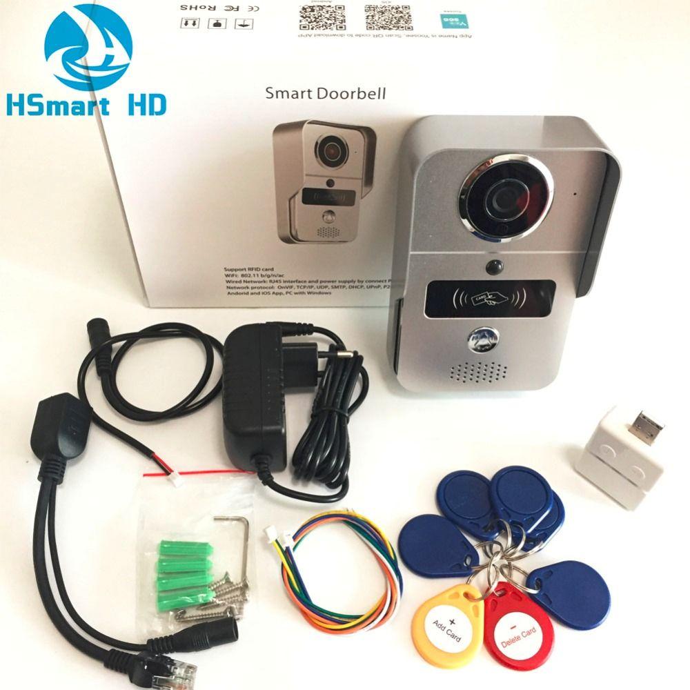 Wireless Sd-karte Video Aufnahme Video Tür Telefon + RFID Keyfobs + Innen Glocke Wifi IP Tür Glocke POE Kamera für ONVIF Verbinden NVR