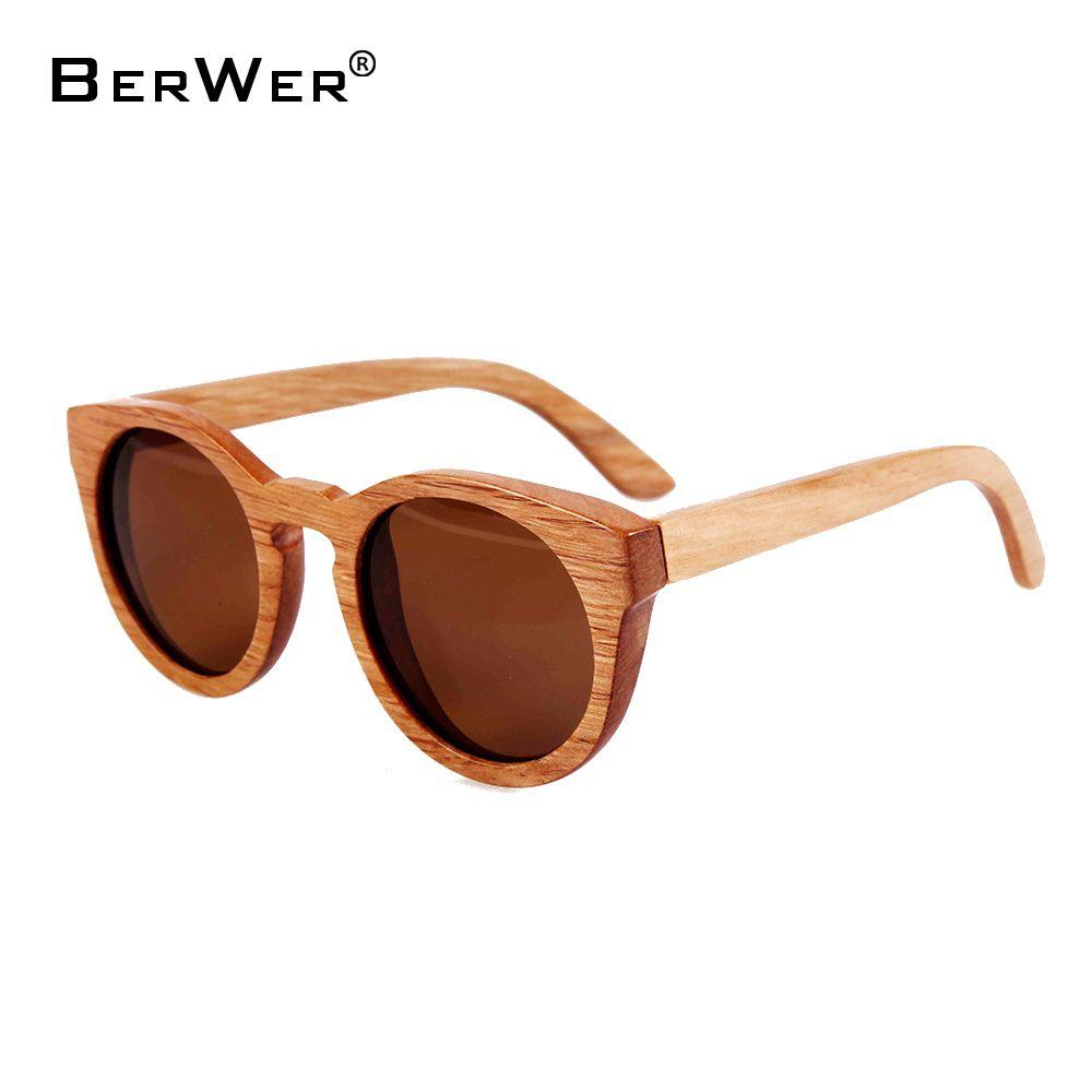 BerWer New 100% Real Wood Sunglasses Polarized Handmade Bamboo women Sun glasses Oculos De Sol <font><b>Feminino</b></font>
