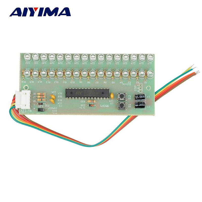 Aiyima MCU Adjustable Display Pattern LED VU Meter Level Indicator Amplifier Audio 16 LED Dual Channel Green Color