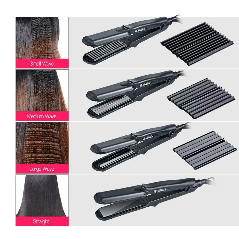Interchangeable 4 in 1 Hair Straightener Corn curling Wide Wave Plate Electric Hair Crimper Large Small Corrugated Flat Iron S42