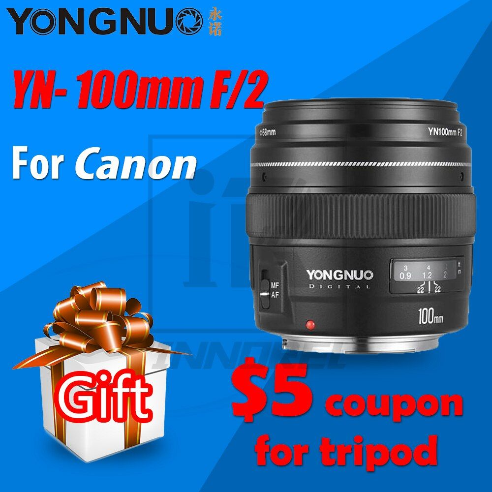YONGNUO YN100mm F2 AF/MF Medium Telephoto Lens for Canon EOS DSLR camera 100mm Fixed Focal EF mounting port 600D 60D 80D 6D 5D3